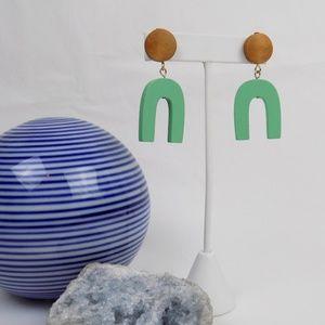 turquoise statement dangle earrings wood